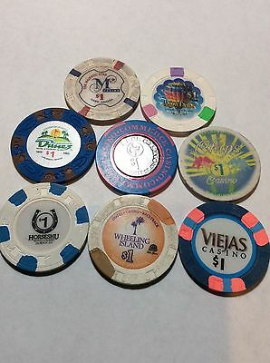 Casino Chip Lot- 8 Different- No Reserve