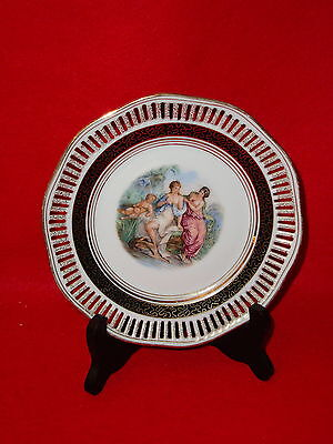 Winterling Bavaria Reticulated 7 1/2 in Plate Fragonard Style Ladies And Child