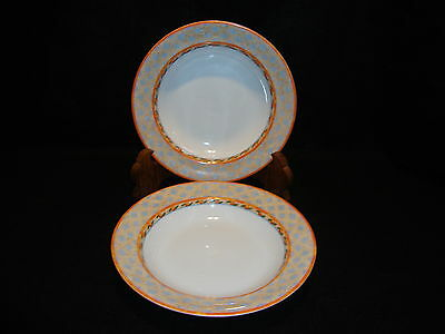 "Villeroy & And Boch NAVARRA RIMMED 8 1/2"" SOUP / CEREAL BOWLS Lot x 2 EUC !"