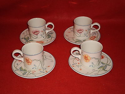 Villeroy & Boch Albertina Set Of 4 Small Cups And Saucers Excellent Condition