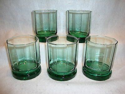 Anchor Hocking ESSEX GREEN ROCKS GLASSES Lot x 5 Old Fashioned Ten Panel 9oz