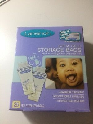 LANSINOH BREASTMILK FREEZER STORAGE BAGS 25 x 180ml