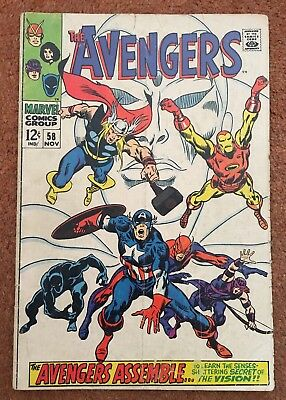Avengers #58 November 1968  Marvel Comics GD+