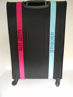 SUITCASE STRAPS PERSONALISED EMBROIDERED. turquoise/cerise.(upto 13 letters)