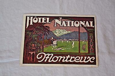 Rare Early Hotel Luggage Label: Early 1900's Hotel National Montreux Travel Tag