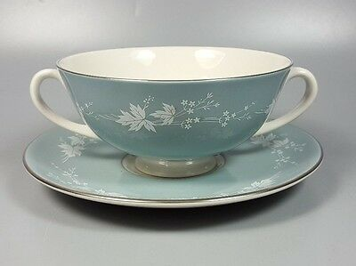 Royal Doulton Reflection Tc1008 Cream Soup Coupe / Cup And Saucer (Perfect)