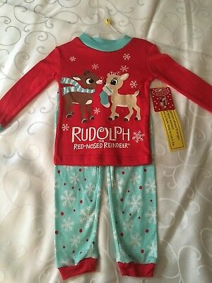 NEW Infant Unisex Rudolph The Red-Nosed Reindeer 2 Piece Pajamas Size 24M