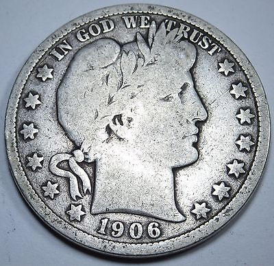 1906-D G-VG US 50 Cent Silver Barber Half Dollar Old Antique Currency Money Coin