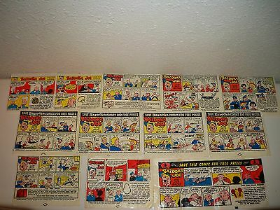Vintage Lot of 12 Late 1950's Bazooka Joe Chewing Gum Comic Wrappers