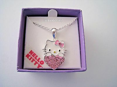 Hello Kitty Girls Pink Crystal Heart Necklace Pendant Silver Plated Sanrio NIB!