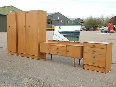 Mid century teak bedroom furniture set wardrobes dressing table chest of drawers