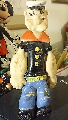 """VINTAGE POPEYE (NOT SO SQUEEZABLE)TOY APPROX. 7"""" TALL ... circa 1935"""