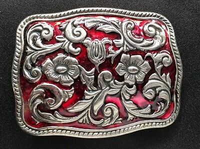 Raised Silver Toned Floral Decorative Design Red Color Western Belt Buckle