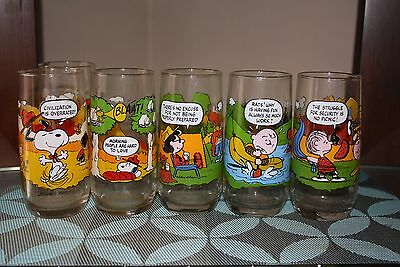 5 Vtg Peanuts Camp Snoopy McDonalds  Drinking Glasses Charlie Brown Complete Set