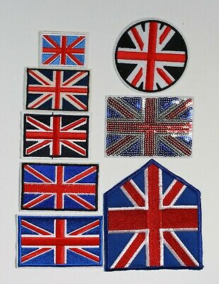 "Embroidered Union Jack GB 3/"" Flag Iron on Sew on Patch motifs"