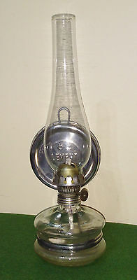 Vintage glass oil lamp with Silver plated reflector