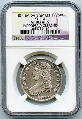 1834 Small Date Small Letters Bust 50c | NGC VF Details - Improperly Cleaned