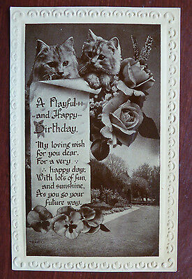 "Cat/Greetings Postcard, "" A Playful and Happy Birthday"""