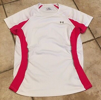 Under Armour Women's Heat Gear White Short Sleeve Shirt Size Medium