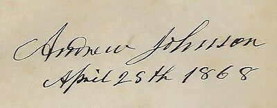 Andrew Johnson signed album page 17th United States President Dated 1868