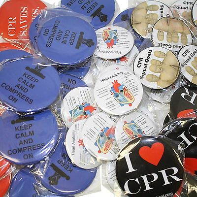 Pack of 50 CPR Training Related Buttons - Novelty Gifts for Instructors/Students