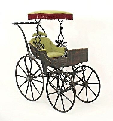 American Victorian Iron and Wood Fancy Baby Carriage