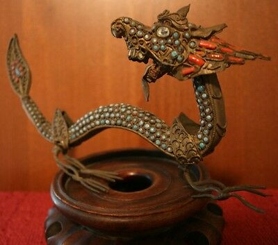 """DRAGON"" - Rare Antique Brass Tibetan or Chinese - Coral Turquoise Inlaid Art !"