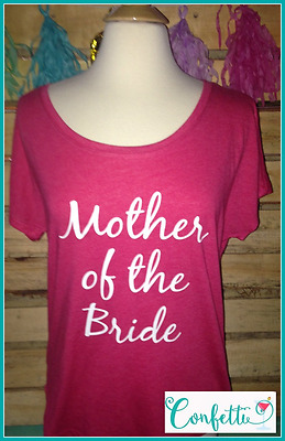 Ready 2 Ship SIZE MEDIUM Mother of the bride tshirt slouchy tshirt pink and whit