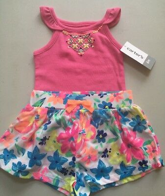 NEW! Carter's 2 PcBaby Girl 6Months Neon Shirt/Tank Top  & Floral  Shorts