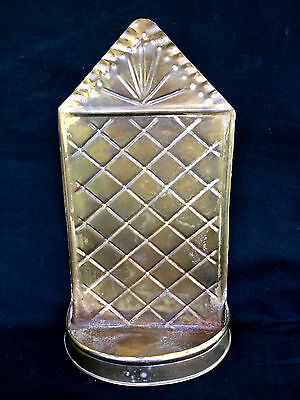 """11.25"""" Antique Pressed Brass Wall Hanging Shelf Sconce Chased Metalwork"""
