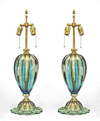"Pair of Italian Murano ""FENICIO"" Gold Dusted & Swirl Glass Table Lamp"