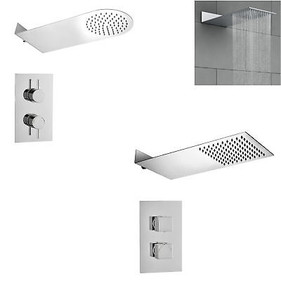 Modern Concealed Thermostatic Shower Mixer Waterfall Slimline Overhead Rain Kit
