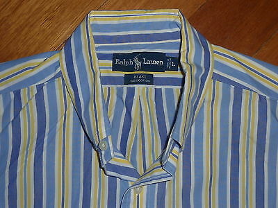 RALPH LAUREN Mens L Blue/Yellow striped 'Blake' L/S Shirt