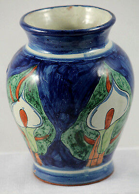 Mexican Ceramic Vase/Pottery Hand Made/Painted 4 Calla Lilies Vintage Folk Art