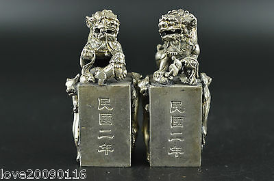 China Decorated Miao Silver Carving Fierce Lion & Dragon Rare Pair Seal Statue