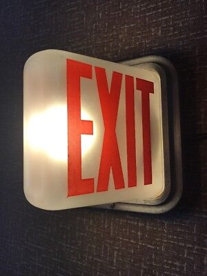 Vintage Triangular Frosted Glass Exit Sign Light, Art Deco, Antique