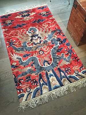 Softest Chinese Imperial Red Decorative Dragon Carpet