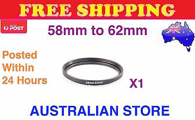 58-62mm Metal Step Up Ring Lens Adapter 58mm to 62mm for Camera Filters