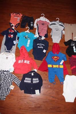 Lot 25 Baby & Infant Outfits Carters Bodysuits Sleepers Pants Shirts Nb 3 6 Nwt