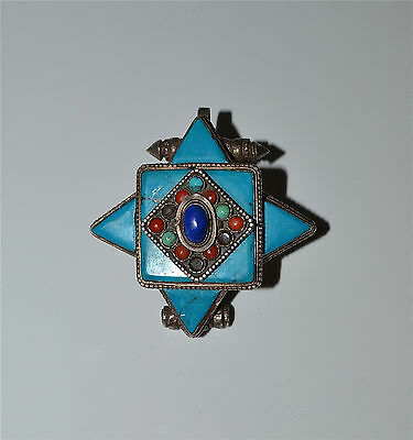 Old or Antique Tibetan Turquoise, Coral, Lapis and Silver Gau Box Pendant