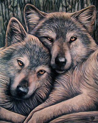 "Lisa Parker Wolves Canvas Print ""Loyal Companions"" 19cm x 25cm"