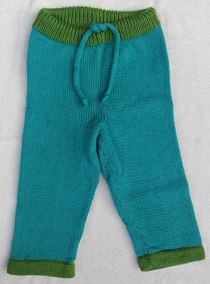 Just Ducky Wool Longies Diaper Cover Soaker Pants Aqua Green Drawstring 2T 24 mo