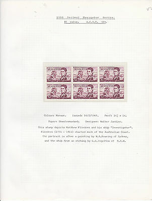 STAMPS..Australia,, 1966 , navigator  $1.00 value x 6 muh ,part frame missing