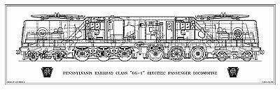 Pennsylvania GG-1 2-C+C-2 (4-6-6-4) Type Electric Locomotive Drwg - Side View