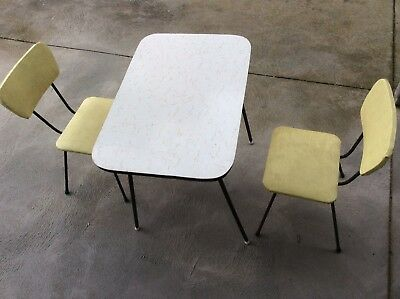 Mid Century Vintage Retro Children's Child Small Table and 2 chairs Seat