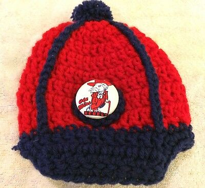 81756ae60f2 Ole Miss Rebels Colonel Reb Red Blue Homemade Crochet Pom Toddler Baby Cap  Hat