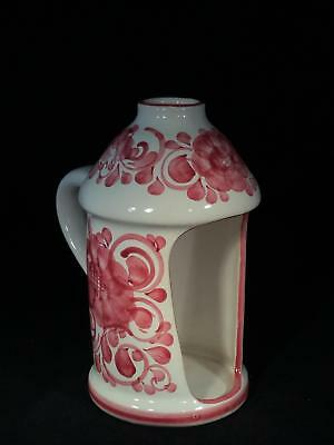 RARE Gmunder Keramik White w Red Floral Candle Holder w Handle FREE SHIPPING!!!