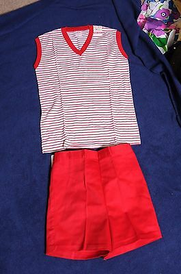 VTG '70s NOS Girls Buster Brown Red striped outfit sleeveless top/shorts 14