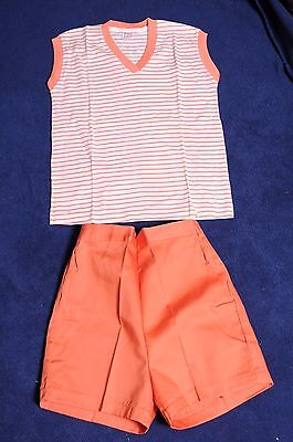 VTG '70s NOS Girls Buster Brown peach striped outfit sleeveless top/shorts 10/12