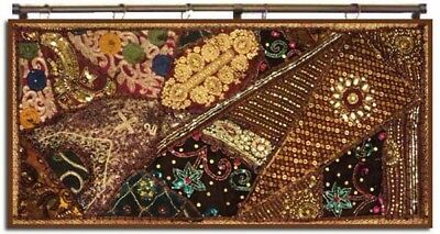 """40"""" Spectacular Antique Sari Art Décor Beads Sequin Wall Hanging Throw Tapestry"""
